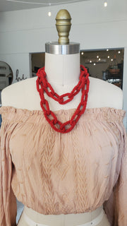 India Seed Beads Necklace- Red