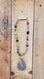 Semi-Precious Beads Necklace- Gray