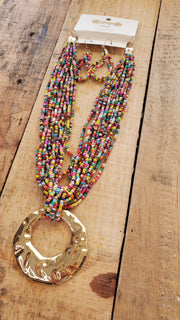 Gold Pendant Seed Beads Necklace- Multicolor