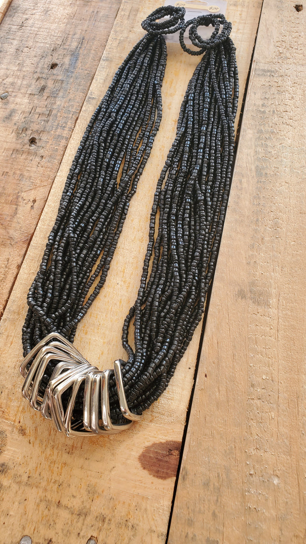 Seed Beads Long Necklace- Black