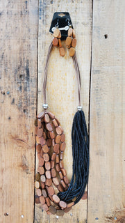 Wood & Seed Beads Long Necklace- Black