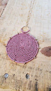 Crochet Pendant Long Necklace- Blush