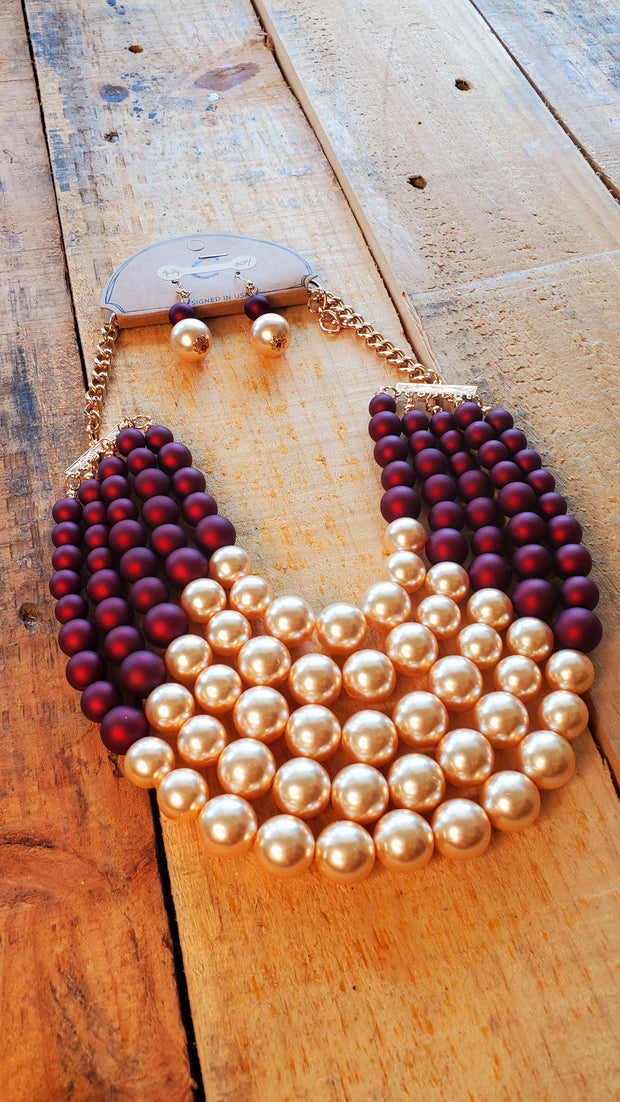 Chunky Pearls Necklace- Burgundy