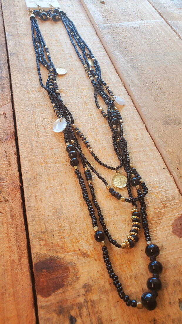 Seed Beads and Charms Long Necklace