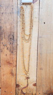 Wood Beads Long Necklace