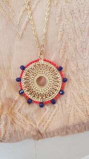 Semi-Precious Pendant Long Necklace