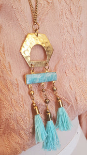 Gold Pendant Long Necklace- Turquoise