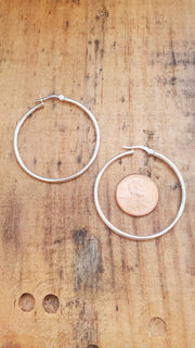 Thick 925 Sterling Silver Hoop Earrings
