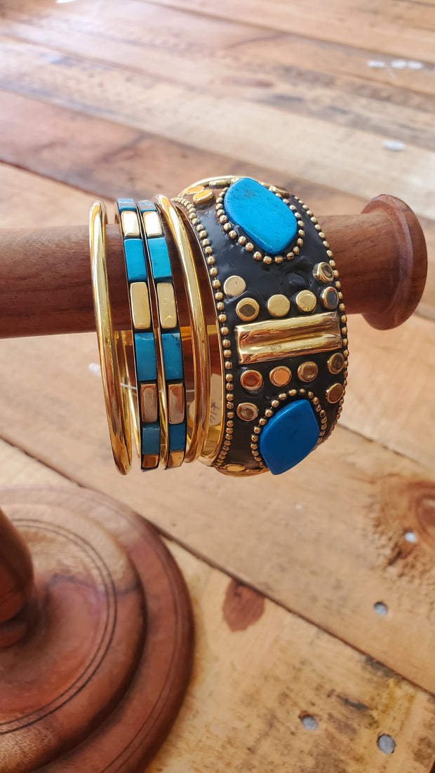 Brass Bangle Bracelet Set- Turquoise