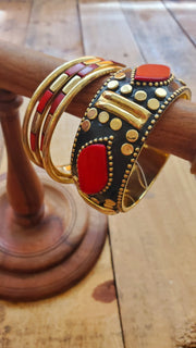 Brass Bangle Bracelet Set- Red
