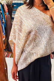 Baby Cheetah Slouchy One Shoulder Top