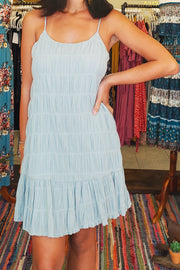Pleated Cotton Cami Dress- Seafoam