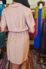 Dot Collared Neck Dress- Nude