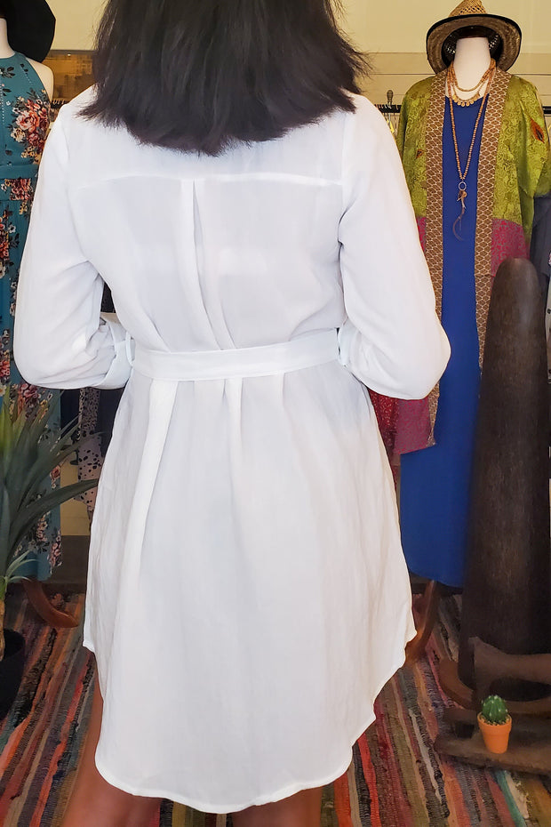 Roll-Up Sleeve Button Down Dress- White