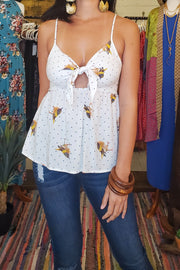 Bird Printed Front Tie Top- White