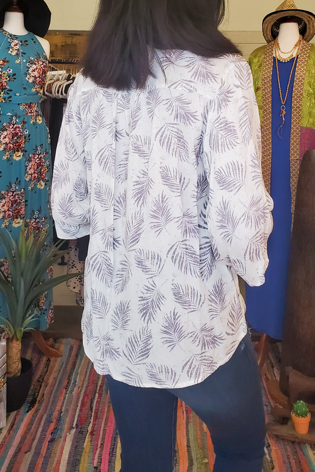 Leaves Printed Shiring Detail Top