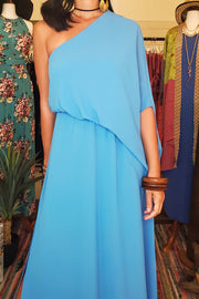 Slouchy One Shoulder Maxi Dress- Blue