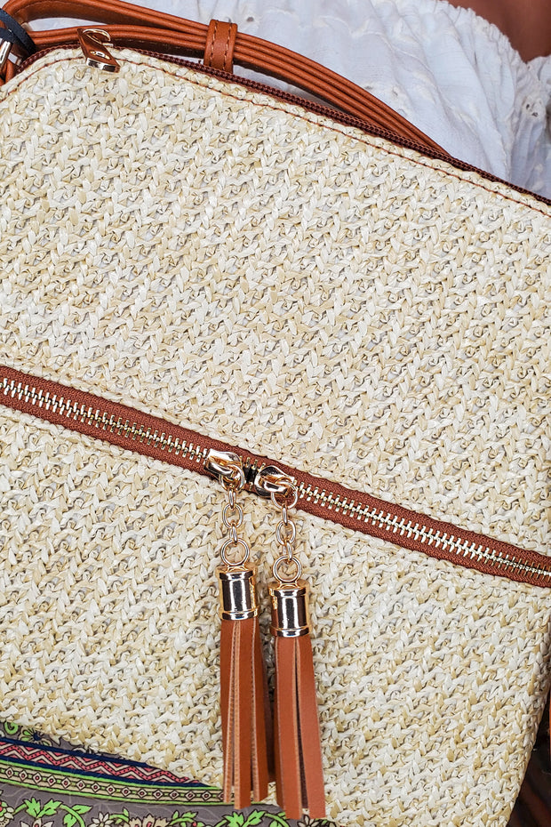 Tassel Front Pocket Cross Body Bag