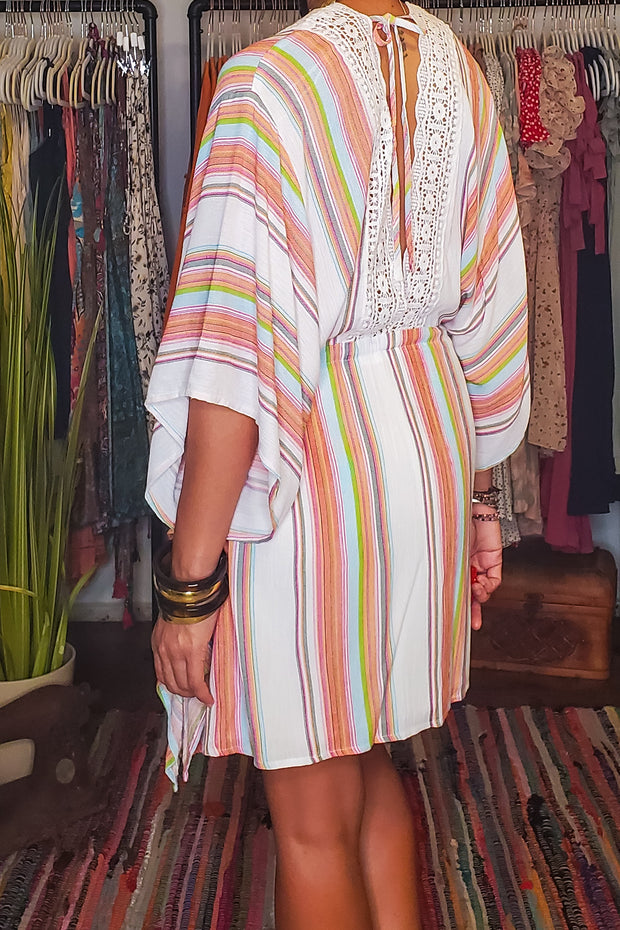 Multi Stripe Cover Up Caftan Dress