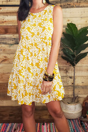 Sleeveless Floral Mustard Dress