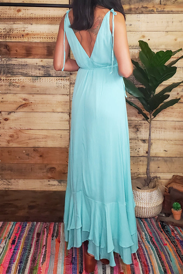 Surplice Wrap Maxi Dress- Aqua