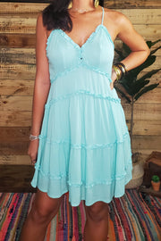 Adrianna Mini Frill Dress- Aqua