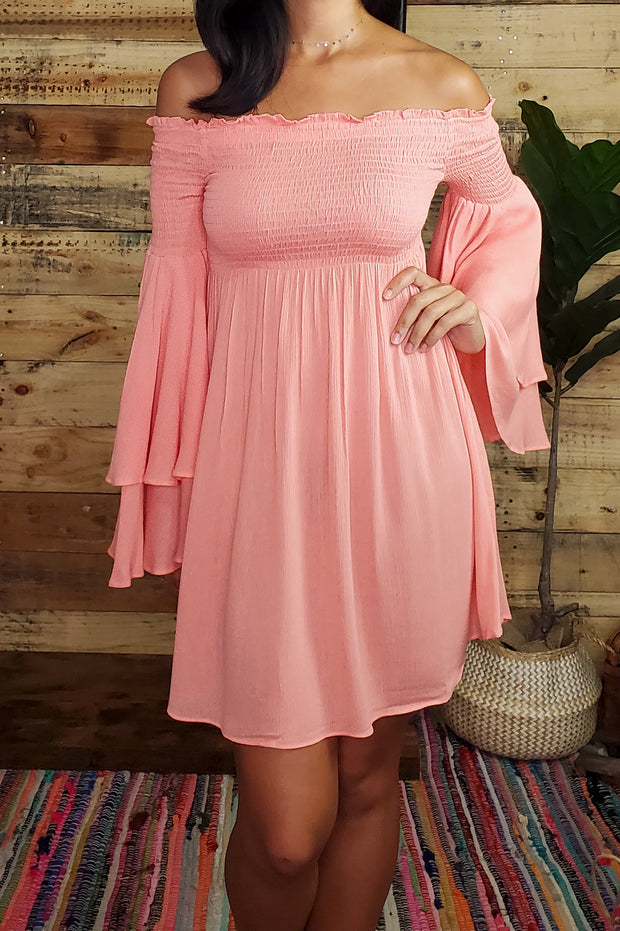 Off The Shoulder Bell Sleeves Dress- Coral