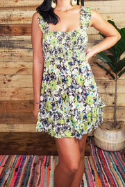 Flower Print Smoked Body Mini Dress