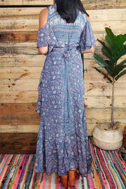 Cold Shoulder Wrap Maxi Dress