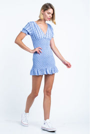 Short Sleeve Smoked Mini Dress