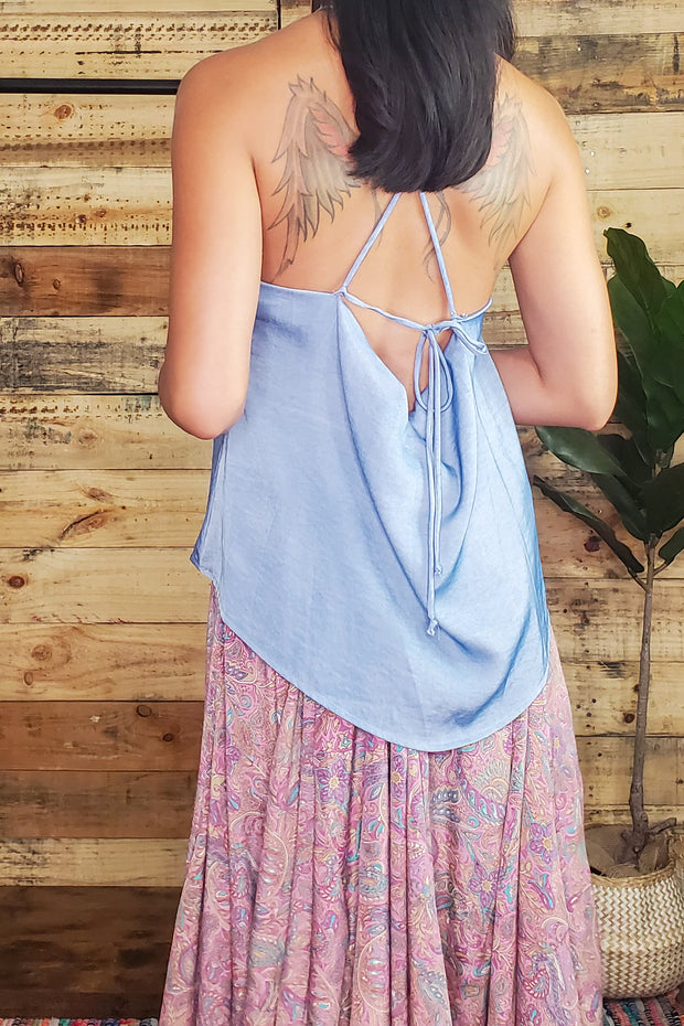 Washed Dull Satin Halter Top