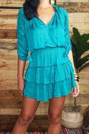 Ruched Sleeves Mini Dress- Teal
