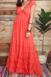 Peasant Solid Color Long Dress