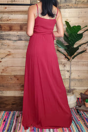 Elegant Wrap Maxi Dress- Burgundy