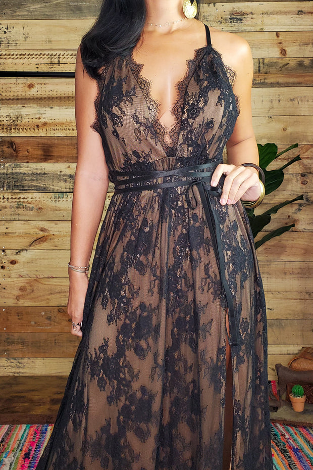 Lace Bodice Maxi Dress- Black