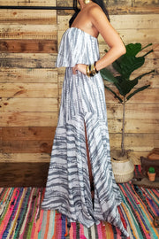 Tie Dye Strapless Maxi Dress