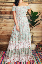 Peasant Off The Shoulder Maxi Dress- Sage