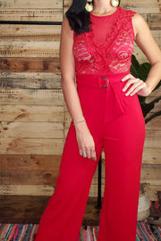 Sleeveless Lace Bodice Jumpsuit- Red
