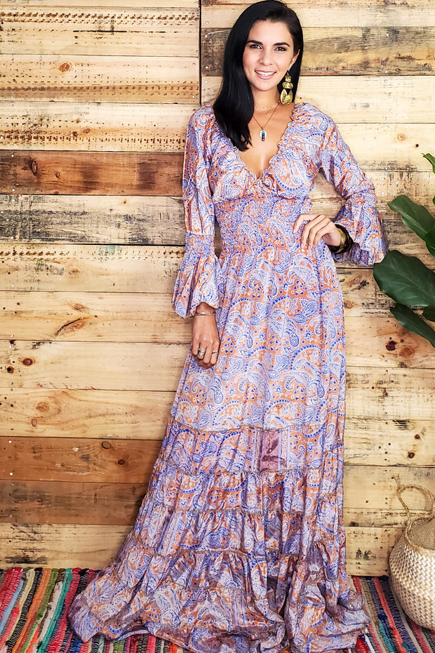 Bell Sleeve Peasant Maxi Dress
