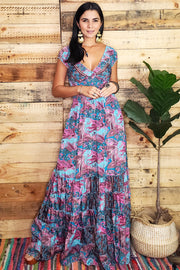 Peasant Floral Print Long Dress