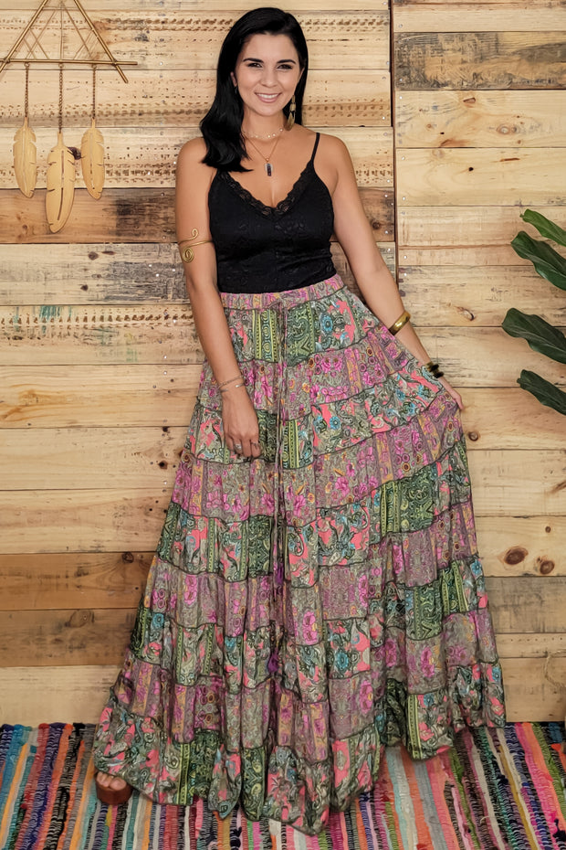 Patchwork Long Maxi Skirt