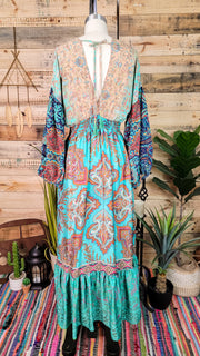 Patchwork Dolman Maxi Dress