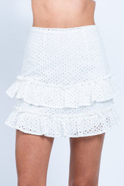 Double Layer Eye-Let Mini Skirt