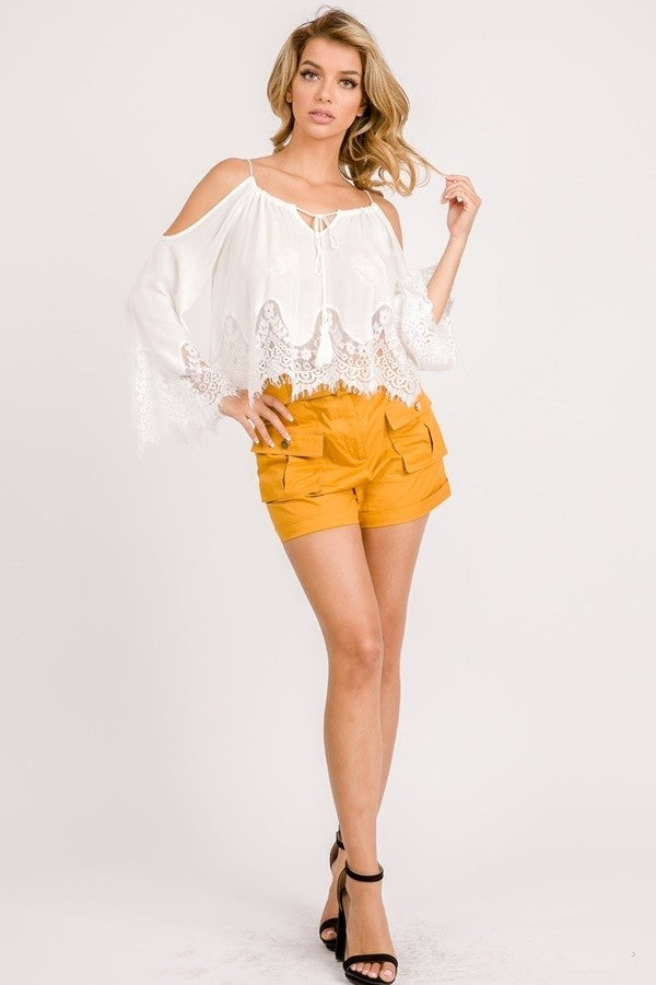 Simona Cold Shoulders Scalloped Top- White