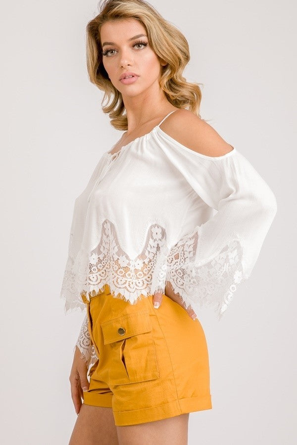 Cold Shoulders Scalloped Crop Top- White