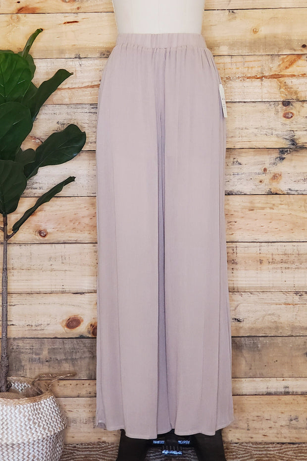 High-Waisted Wide Leg Pant- Almond