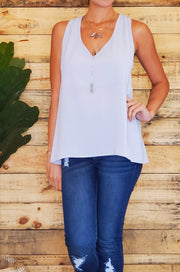 Elena Sleeveless Top- Gray
