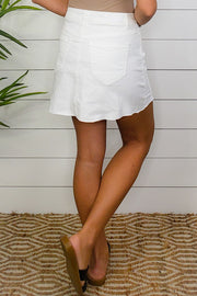 Coconut Button Up High Waisted Skirt- White