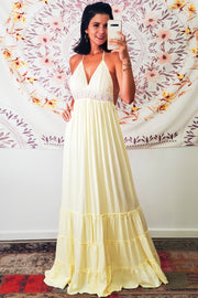 Wildflower Halter Maxi Dress- Cream