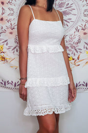Sleeveless Eyelet Short Dress- White